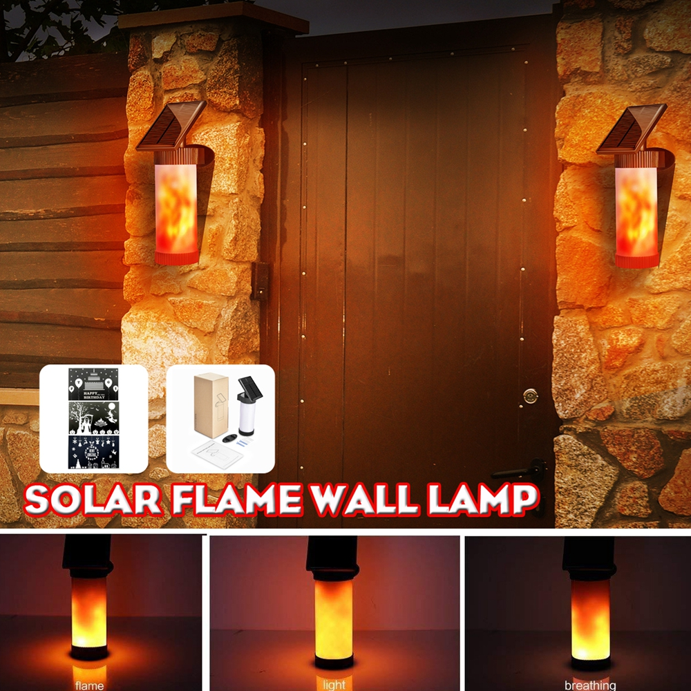 Solar Flame Wall Light Outdoor Courtyard Garden Landscape Lamp 3 Lighting Modes
