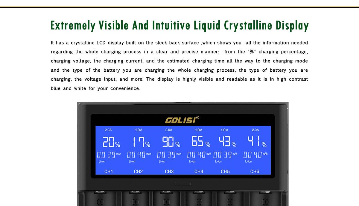 GOLISI S6 LCD Display Rapid Smart Ni-mh / Ni-cd Battery Charger 18650 26650 18350 16340 21700