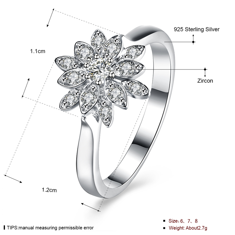 INALIS 925 Sterling Silver Wedding Ring Elegant Lotus Shape Anallergic Anniversary Gift for Women