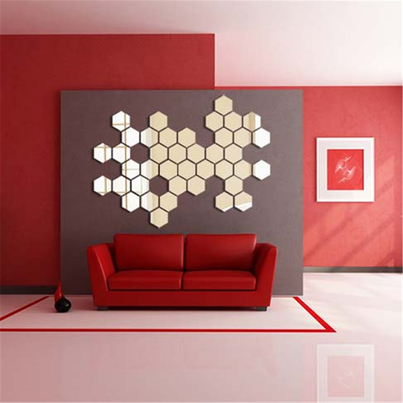 Honana DX-Y5 12Pcs Cute Silver DIY Sexangle Mirror Wall Stickers Home Wall Bedroom Office Decor