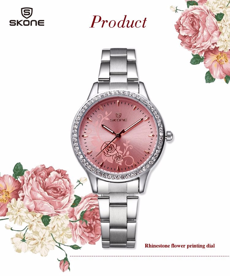 SKONE 5042 Carved Peony Flowers Rhinestone Classical Luxury Women Dress Quartz Watch