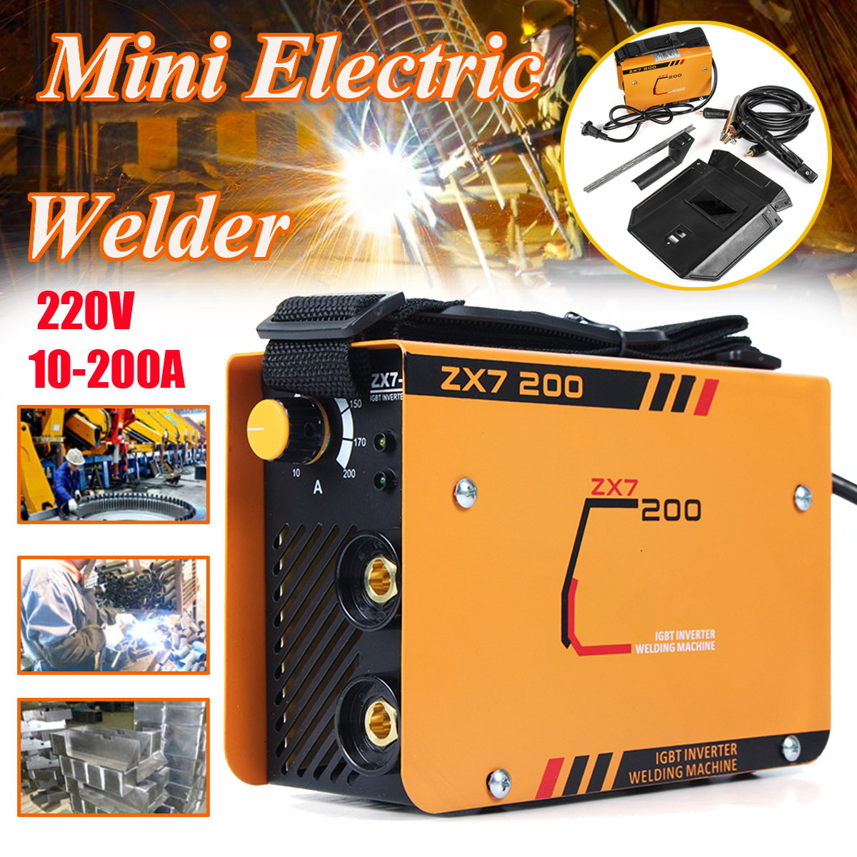 ZX7-200 220V 10-200A Handheld Mini Electric Welding Inverter Welding Machine Tool