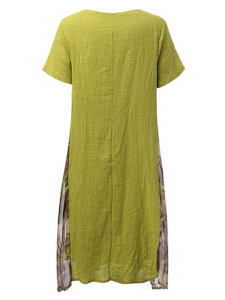 Loose Women Printing Patchwork Short Sleeve Cotton Linen Dress