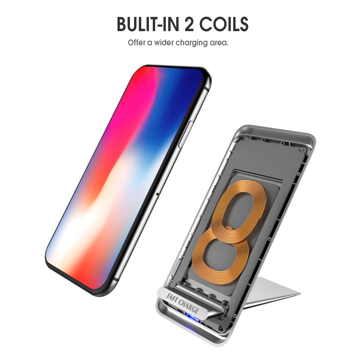 Bakeey F19 10W 2 Coils Fast Wireless Charger Charging Pad With Type C Cable For iPhone X 8Plus S9