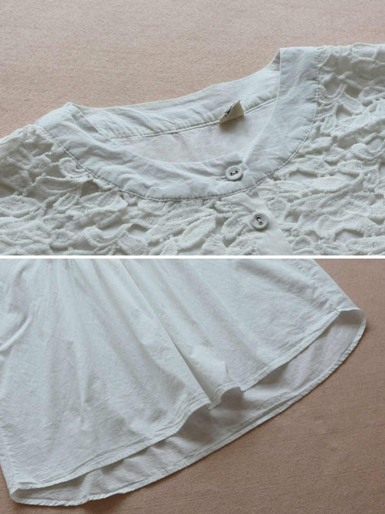 Lace Patchwork Loose Casual Blouse