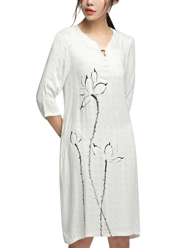 Chinese Style Women Loose Lotus Ink Painting Cotton Linen Dress