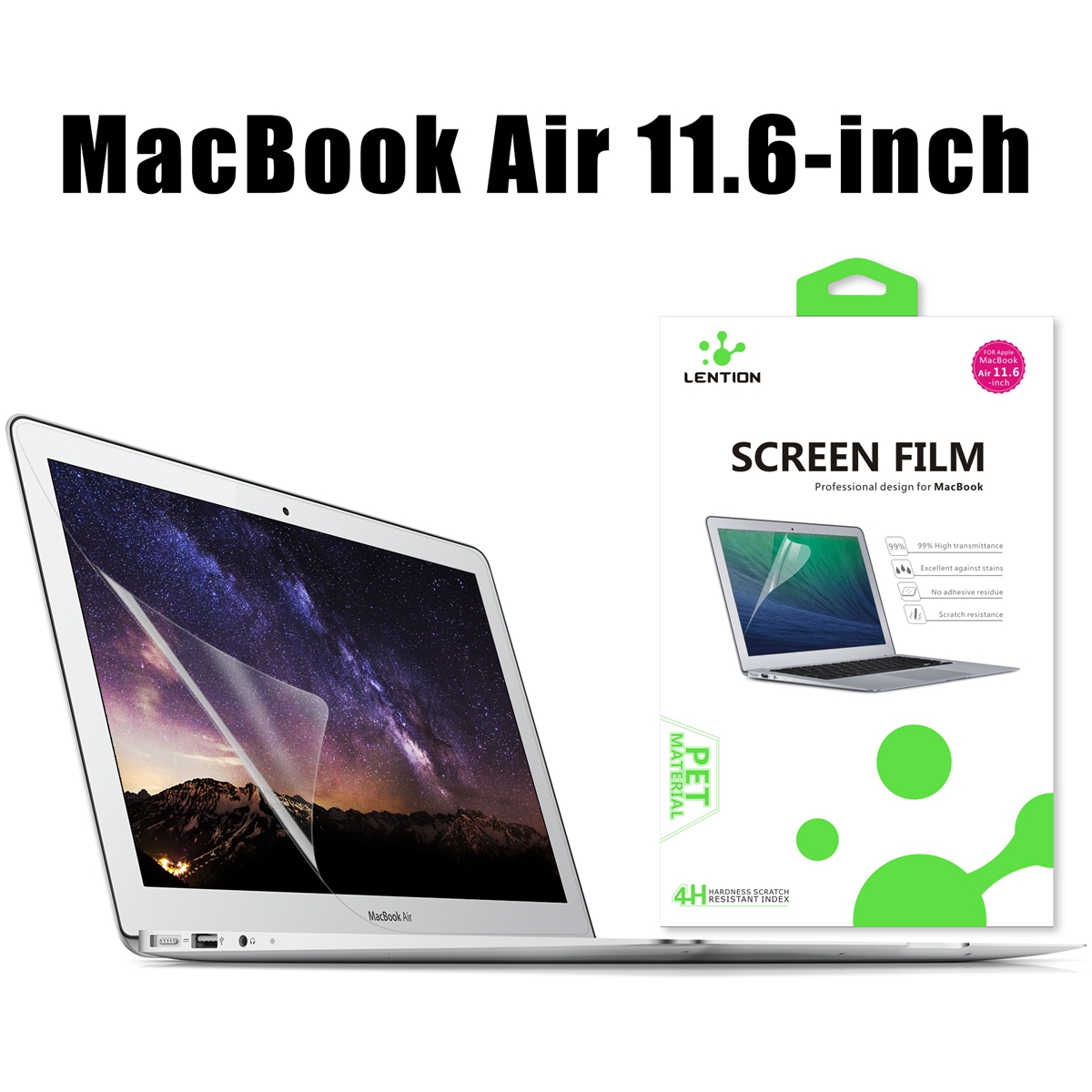 Clear High Definition Anti Glare Scratch Resistant Screen Protector Film For Macbook Air 11.6 Inch
