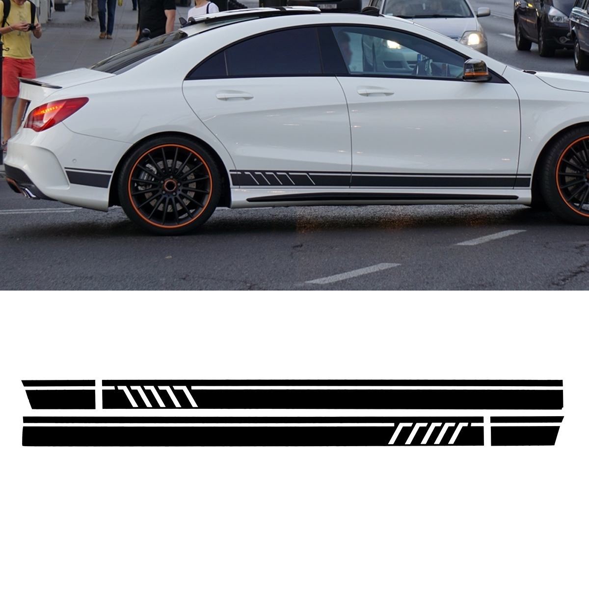 Pair Sport Side Stripes Car Stickers Decals for Benz W117 C117 X117 CLA AMG