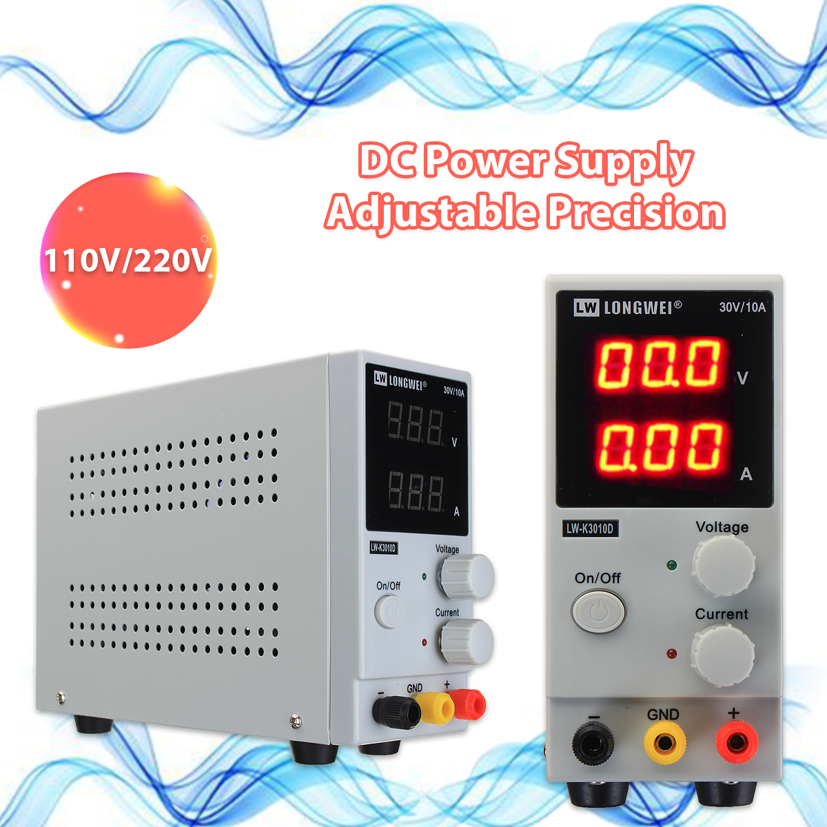 LONG WEI® LW-K3010D 110V/220V 0-10A 0-30V Adjustable DC Power Supply Regulated Digital Switching Power Supply