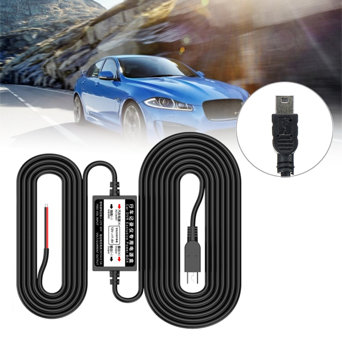 3.5m Car Hard Wire Kit Mini USB Hardwire for Dash Cam Camcorder Vehicle DVR