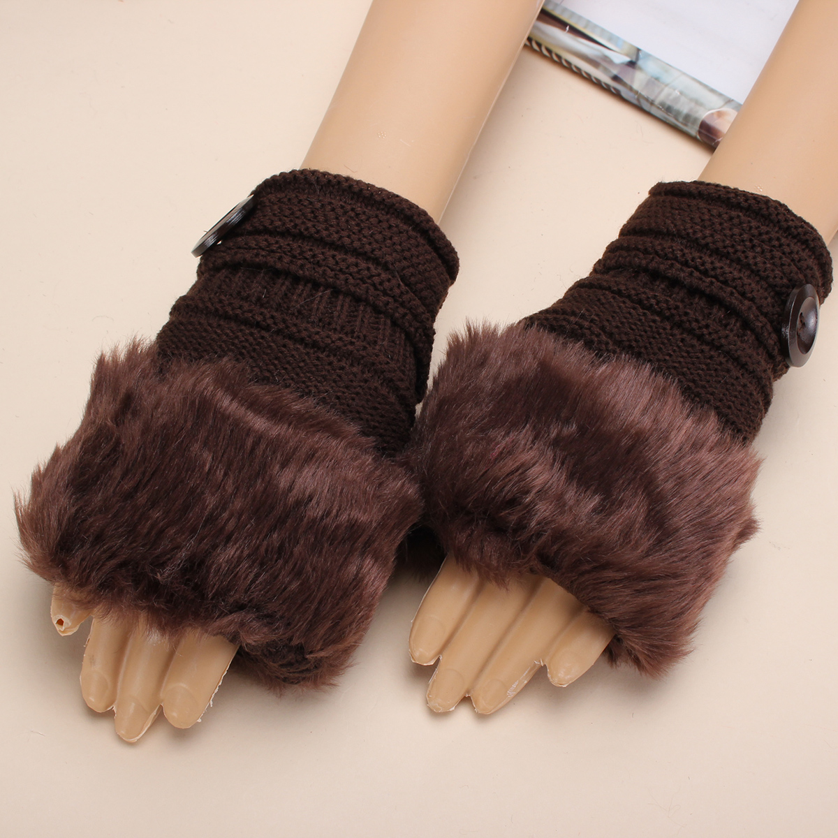Women Ladies Crochet Knitted Fingerless Gloves Button Decorative Fur Mittens