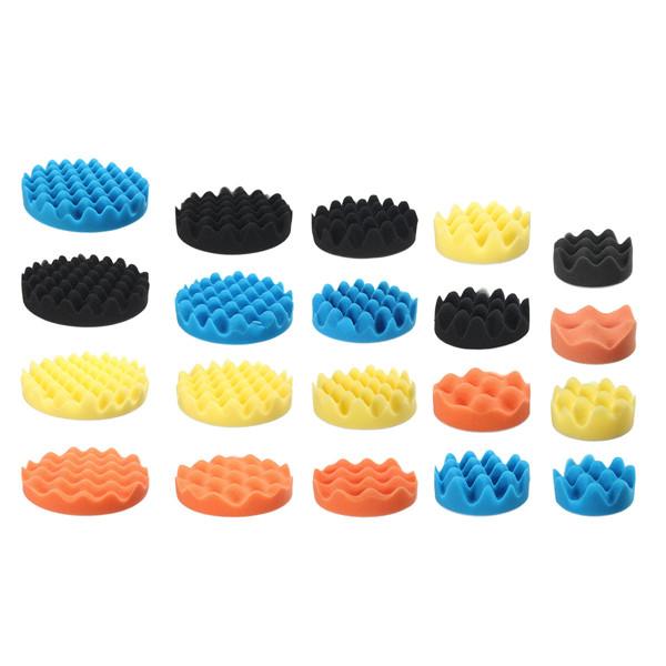 4pcs Sponge Wave Polishing Buffing Pads Kit 3/4/5/6/7 Inch for Car polisher