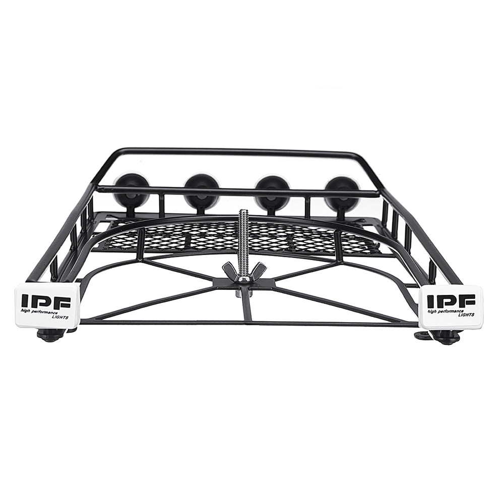 Metal luggage Roof Rack With Tire Holder and LED light for 1/10 RC Car SCX10 II Cherokee
