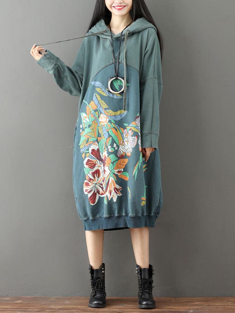 Casual Loose Women Printed Patchwork Long Sleeve Hooded Sweatshirt Dress