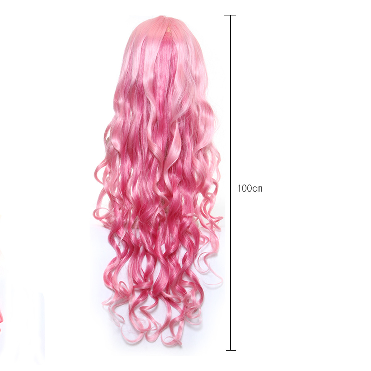 Pink Long Wavy Bangs Cosplay Wig