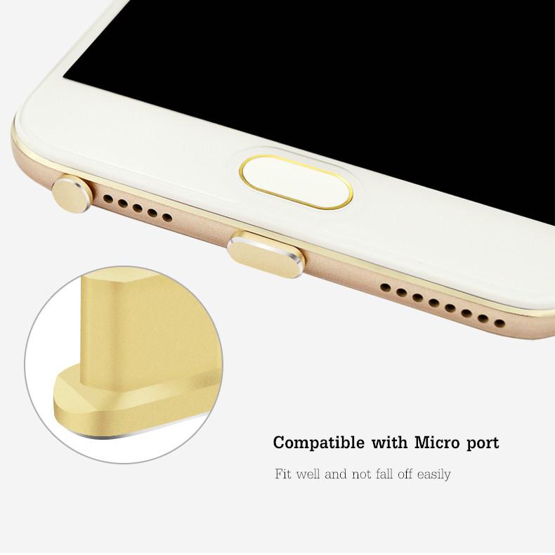 Aluminum Android Dust Plug Set Micro USB Port + Earphone Jack Plugs Sim Card Needle For Smartphone