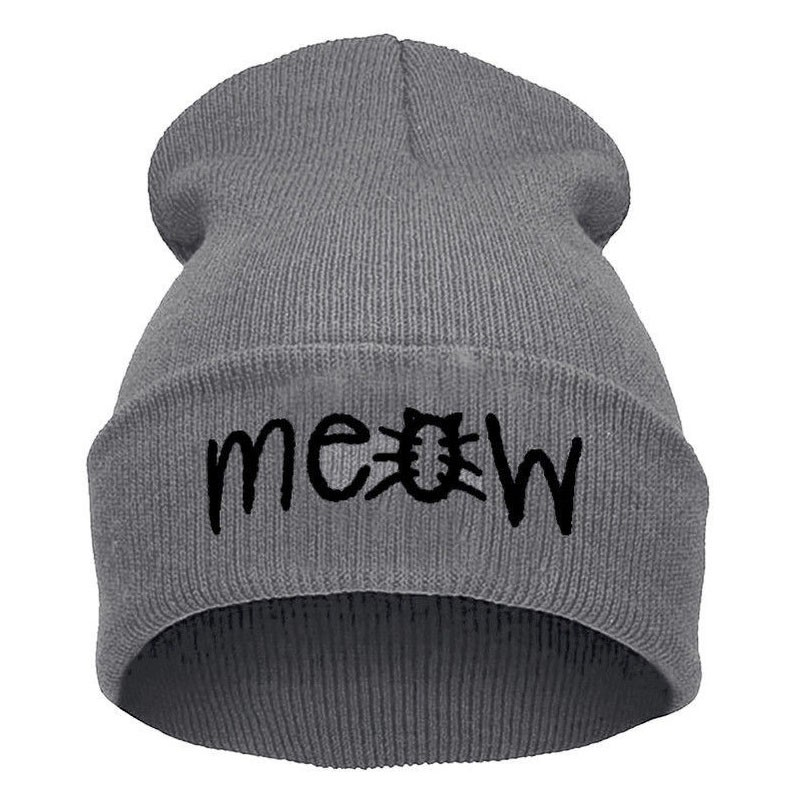 Women Men Knitted Beanie Hat Casual Hip-Hop Letter Emboridery Caps