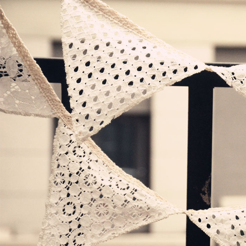 Wedding Handmade Lace Pennant Banner Home Decoration Party Photography Studio Prop