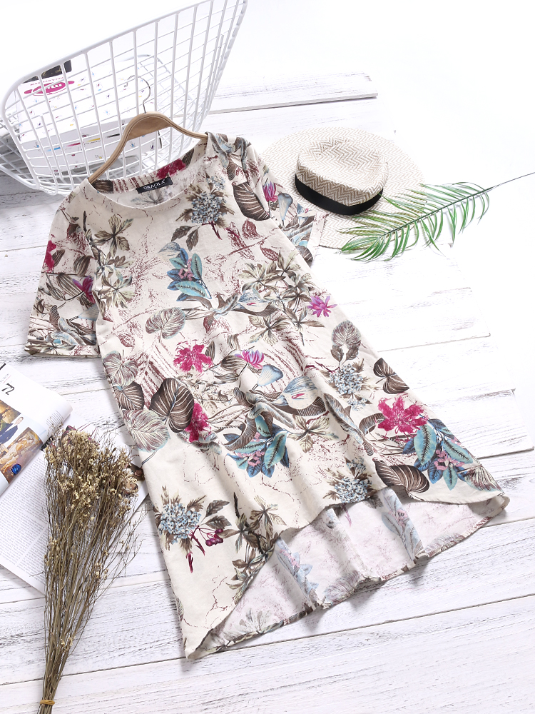 Floral Print O-neck Short Sleeve Dresses