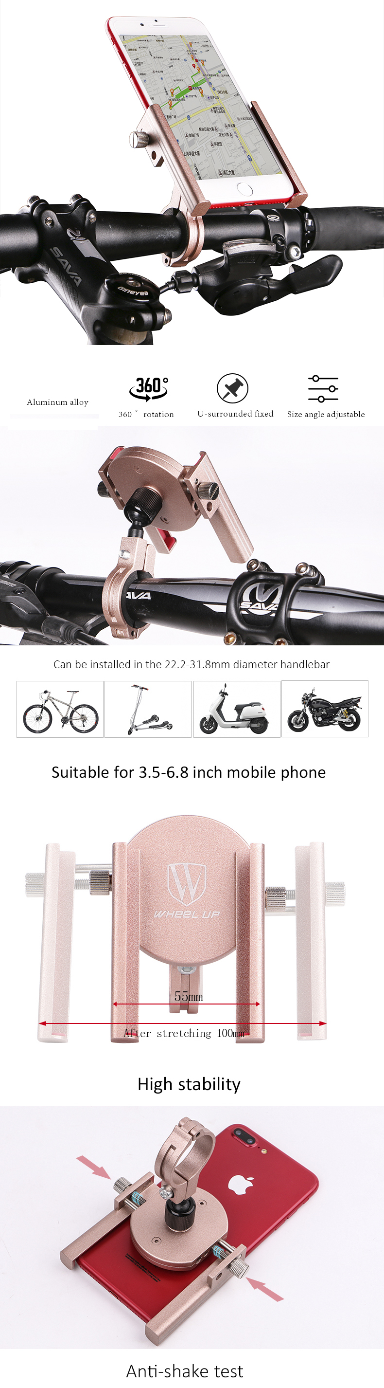 WHEEL UP 360° Rotation Bicycle Phone Holder 3.5-6.8 inch Aluminum Alloy Non-slip Anti Shake