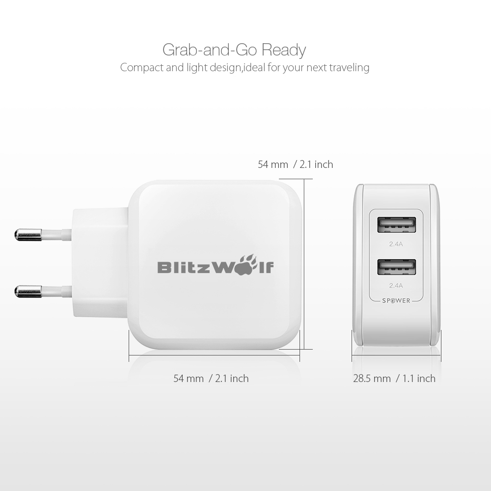 BlitzWolf® BW-S2 4.8A 24W Dual USB EU USB Charger With Power3S Tech for iphone 8Plus iphoneX Xiaomi