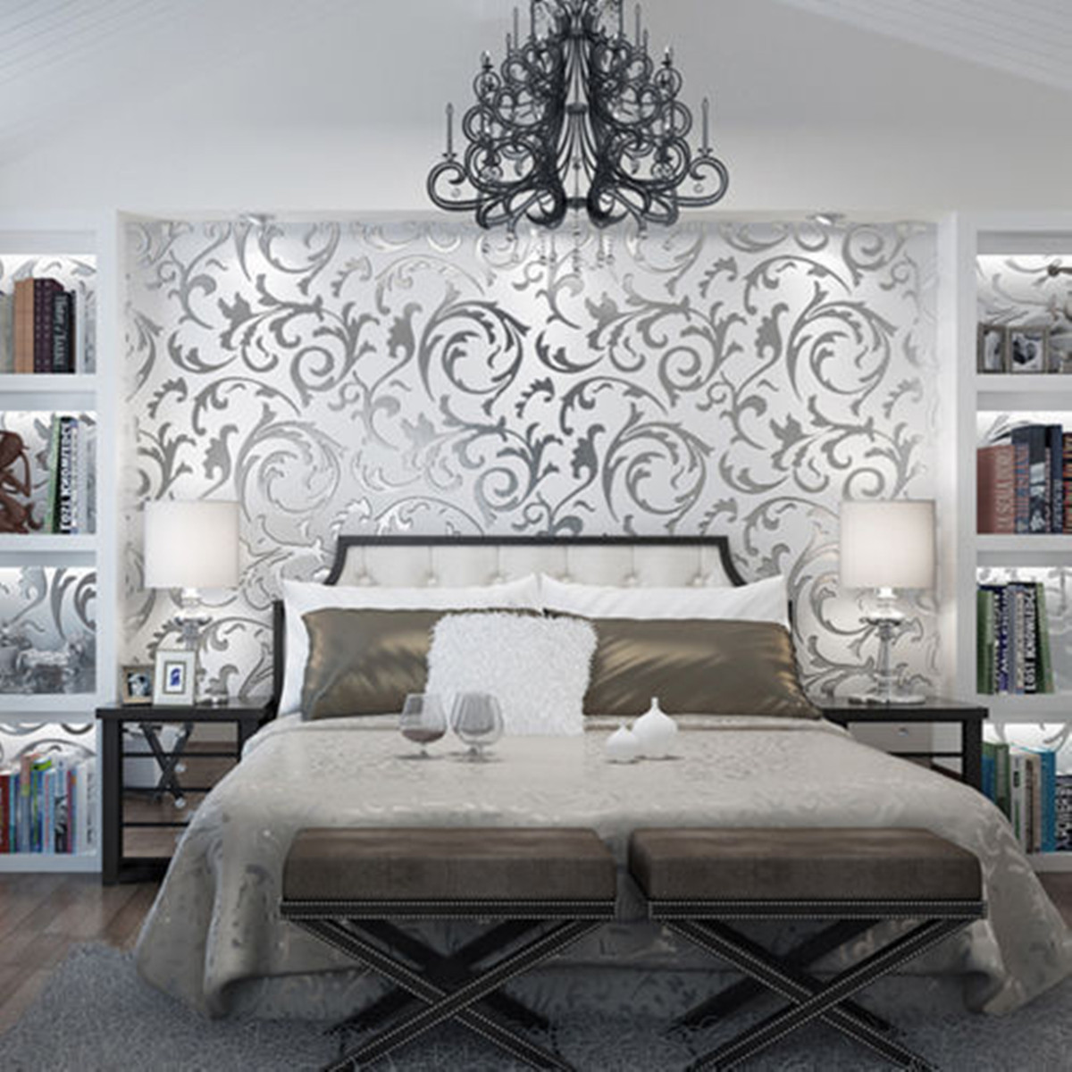 3D Silver Victorian Wall Sticker Damask Embossed Rolls Wallpaper Feature Living Room Background Decor