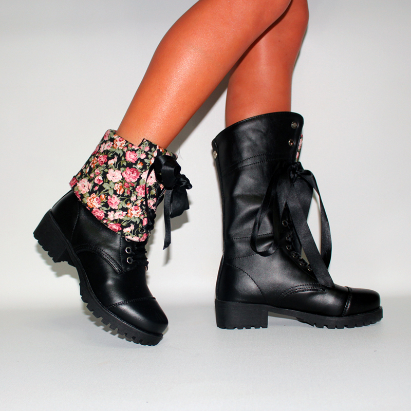 Plus Size Cuffed Casual Lace Up Flowers Mid Calf Boots