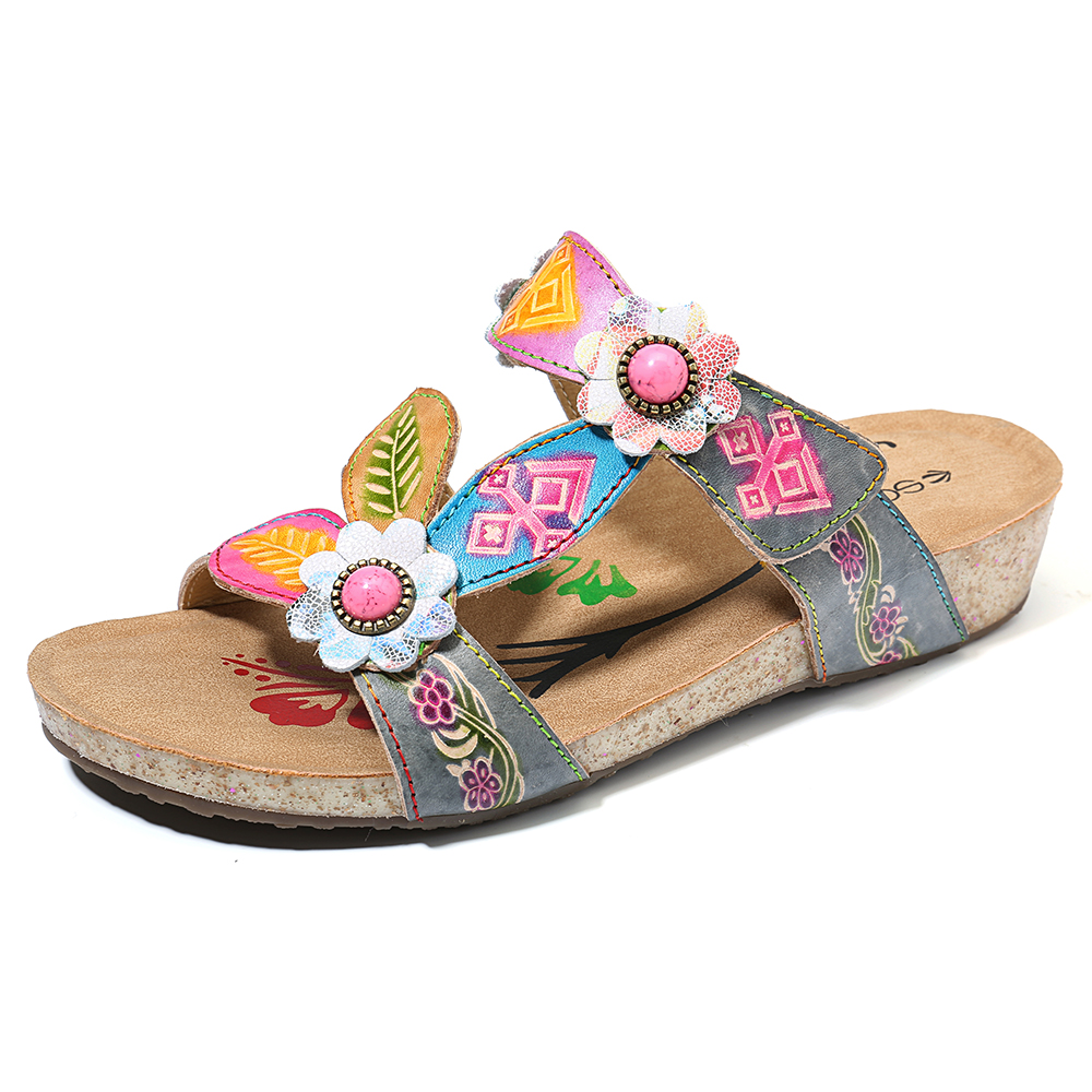 SOCOFY Hand Floral Genuine Leather Comfy Wedge Sandals
