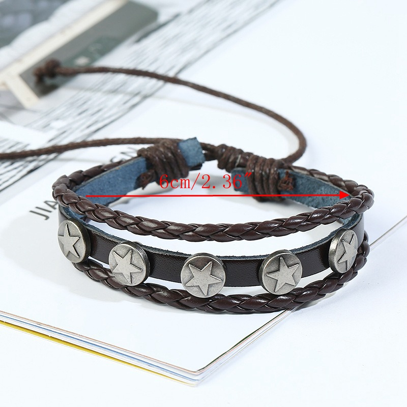 Retro Woven Leather Multi Layer Bracelet