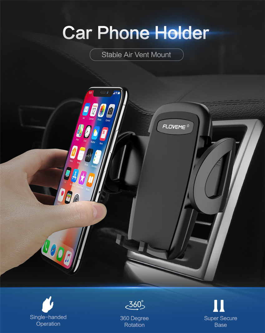 Floveme One-click Release Clip 360 Degree Rotation Car Air Vent Holder for iPhone Xiaomi Smart Phone