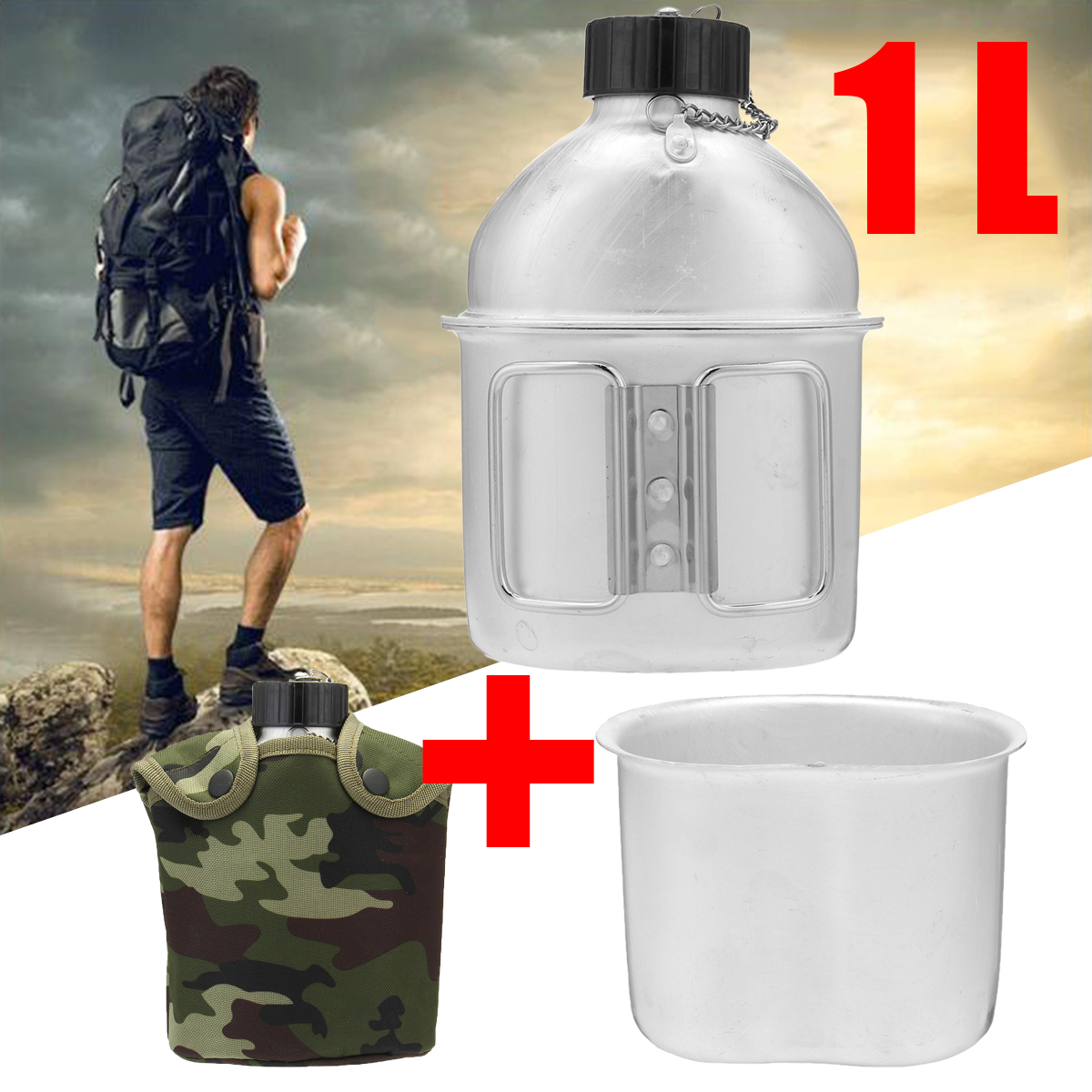 Military Canteen 1QT Stainless Steel Cup Mug Nylon Cover Camping Hiking Cycling Water Bottle