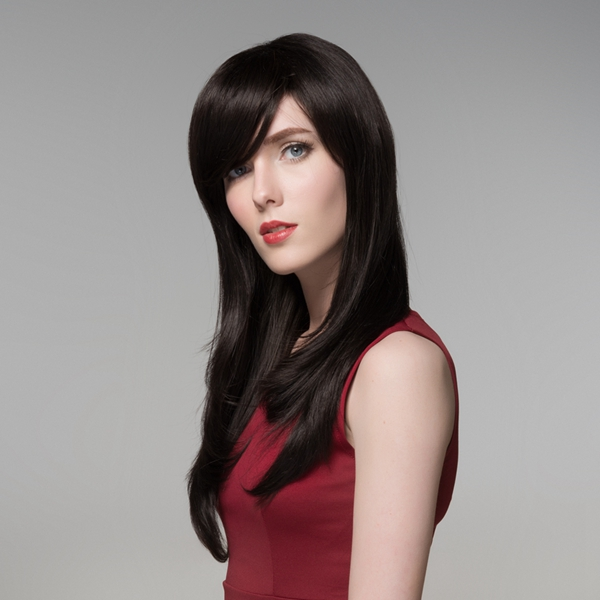 Natural Long Virgin Remy Medium Side Bang Capless Mono Top Human Hair Wig 8 Colors