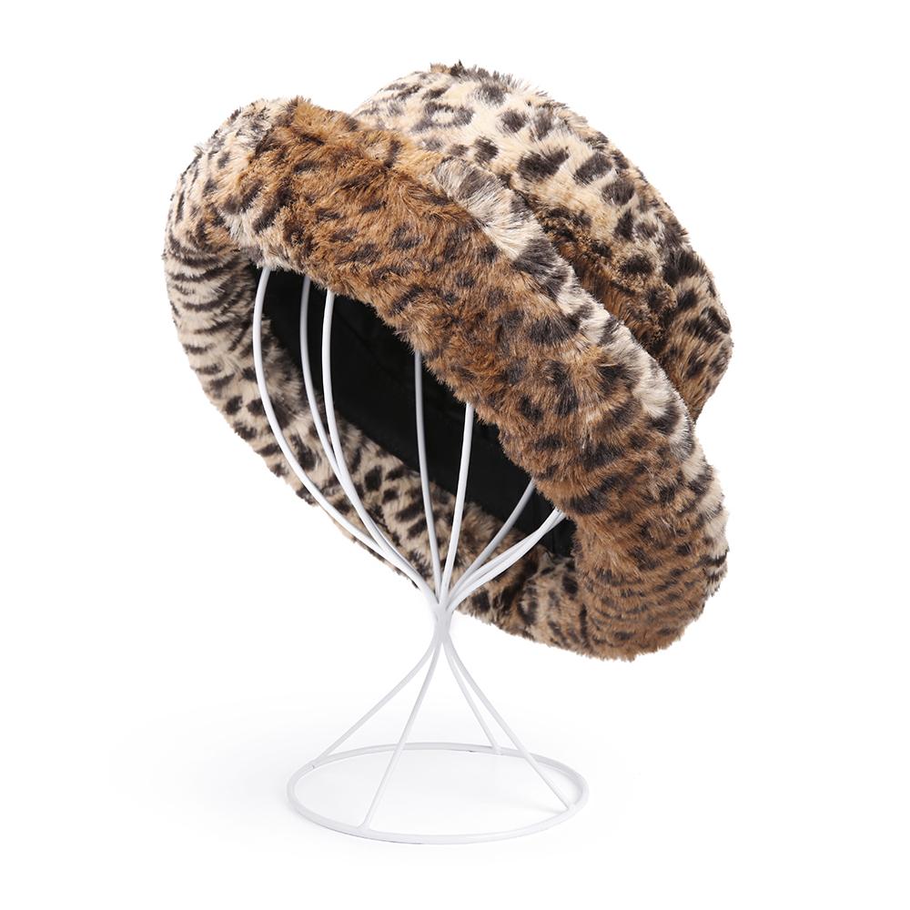 Women Casual Fashion Satin Weave Leopard Bucket Hat
