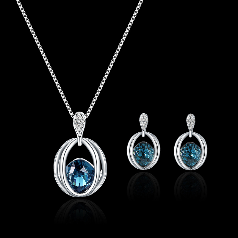 Unique Arc Lines Lake Blue Rhinestone Silver Elegant Jewelry
