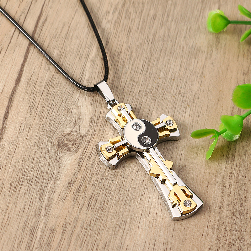 Stainless Steel Rhinestone Cross Yin Yang Tai Ji Necklace Men Jewelry