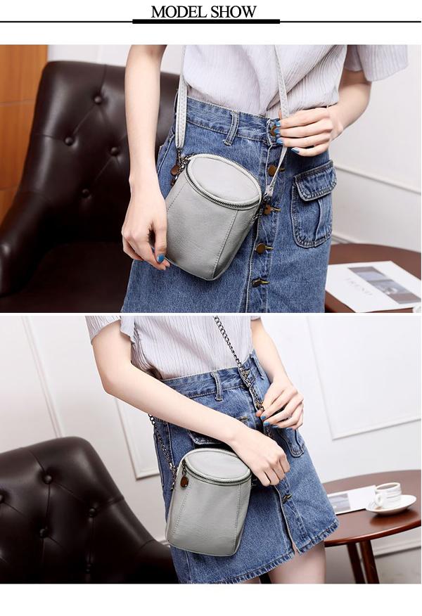 Women Casual Faux Leather Crossbody Bag Bucket Bag