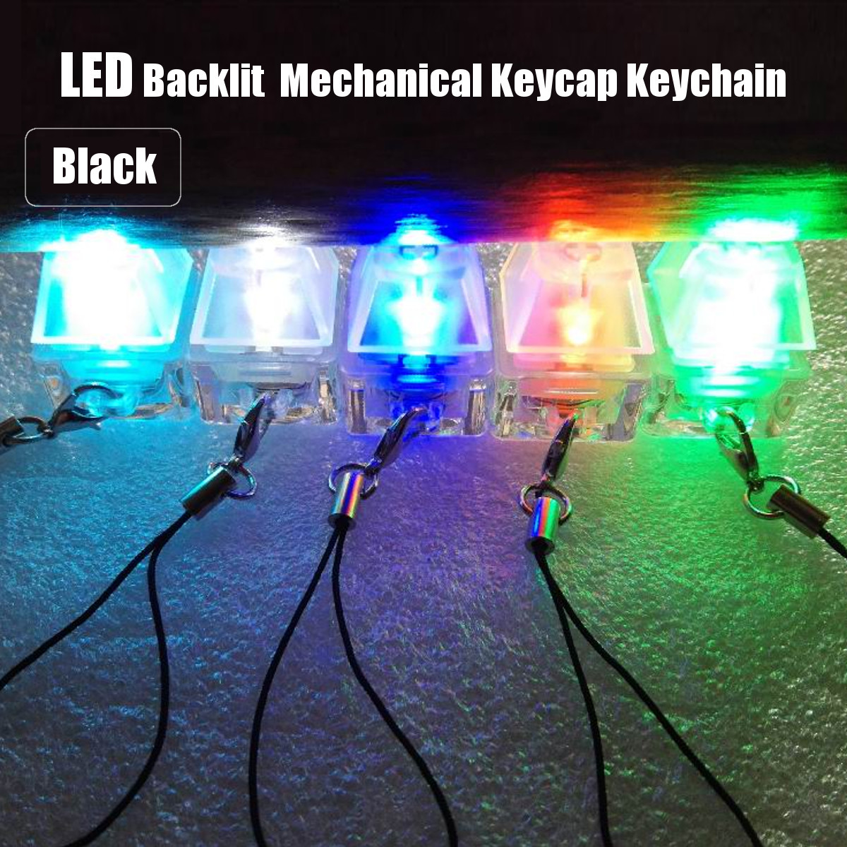 Mechanical Keyboard Black Switch Keycap Tester Keychain for Cherry MX Switch with LED Backlit