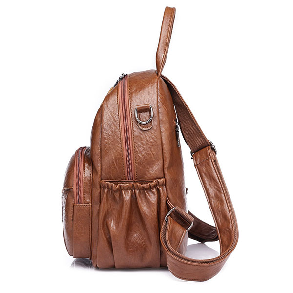 Women Pu Leather Casual Backpack Crossbody Bag