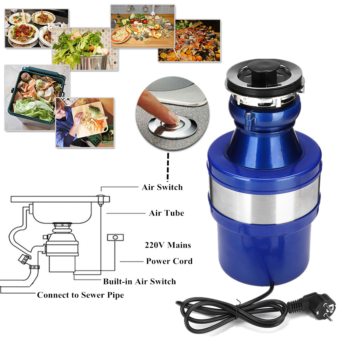 220V 1/2HP Food Disposer Garbage Disposal Continuous Feed Home Kitchen Food Waste Disposal
