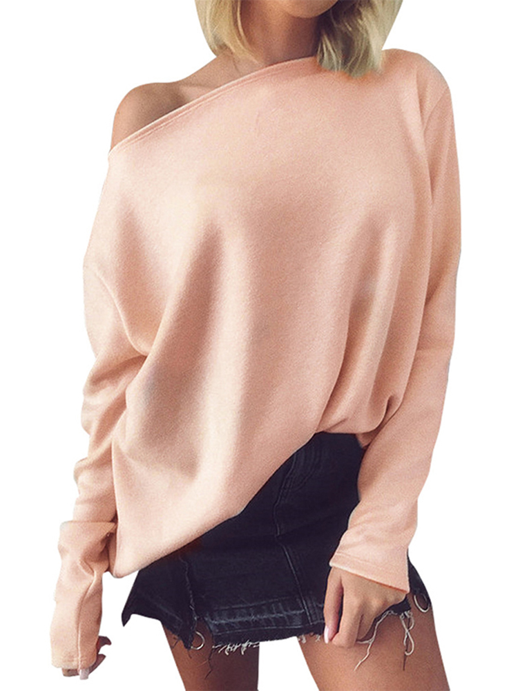 Casual Women Off Shoulder Long Sleeve Pure Color Tops