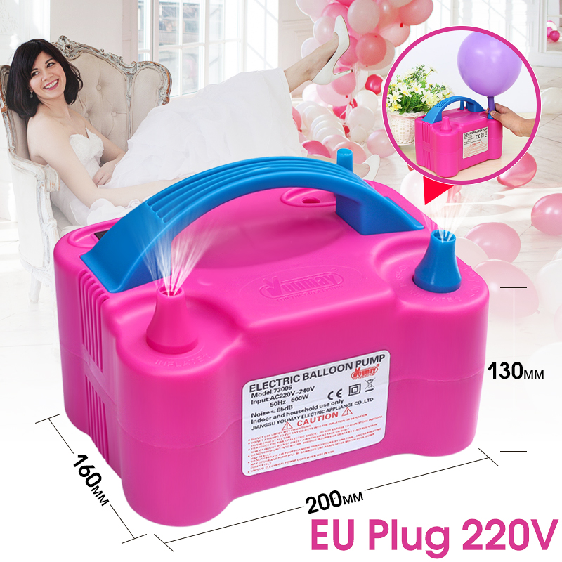 600W High Power Portable Electric Balloon Pump Two Nozzles Inflator Air Blower