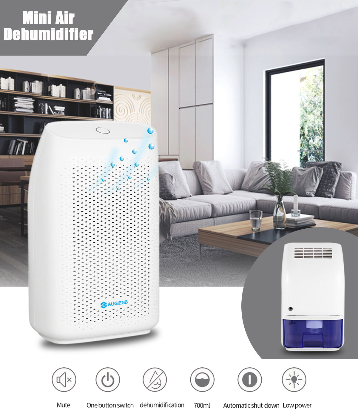 Augienb Mini Air Dehumidifier 700ml Compact And Portable Whisper Quiet Dehumidifier Air Dryer