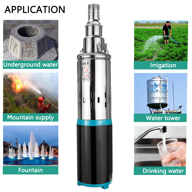 12V/24V Deep Well Pump 300W 8m3/h Solar Submersible Pump