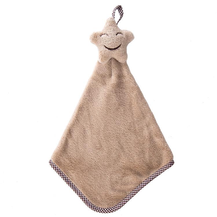 Honana BX-121 Hanging Hand Towels Bathroom Smiling Face Towel Coral Velvet Absorbent Lint-Free Cloth
