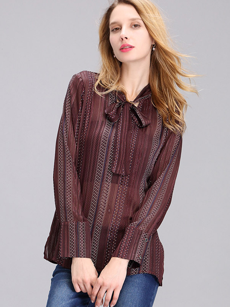 Casual Women Chiffon Bow Long Sleeve Blouse