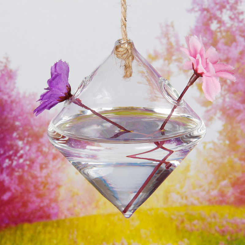 Hanging Diamond Shaped Glass Flower Vase Home Garden Wedding Party Decoration