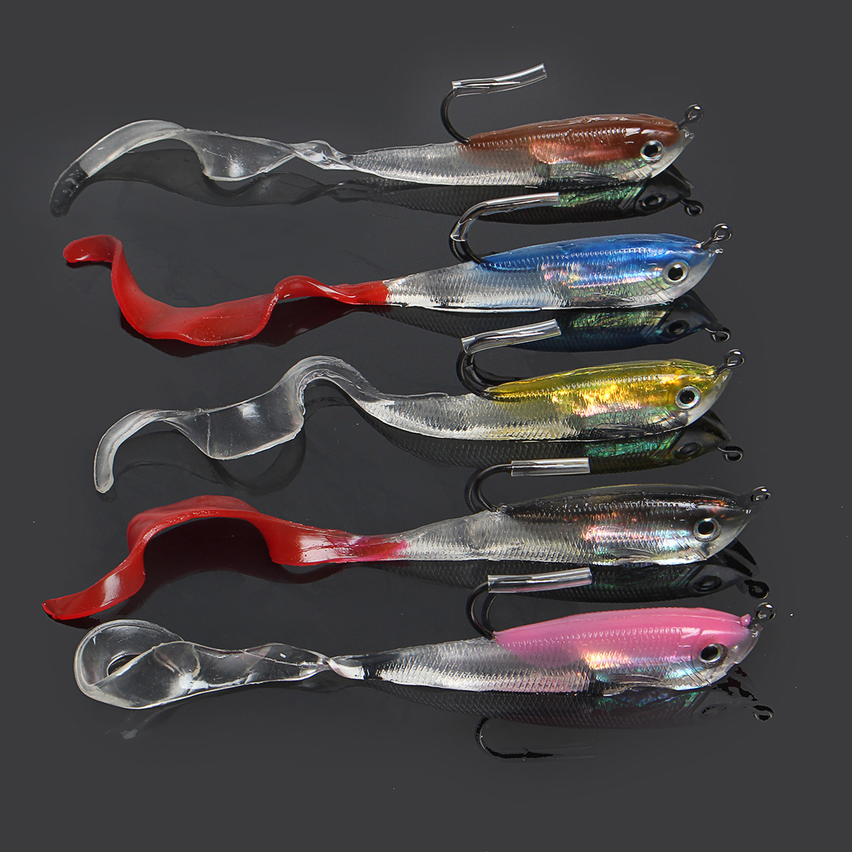 ZANLURE 5pcs 10cm 14.7g Pencil Soft Fishing Lure 5 Colors Soft Baits Hook Salt/Freshwater Fishing