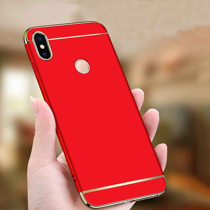 bakeey ultra thin 3 in 1 plating frame splicing pc hard protective case for xiaomi redmi note 6 pro
