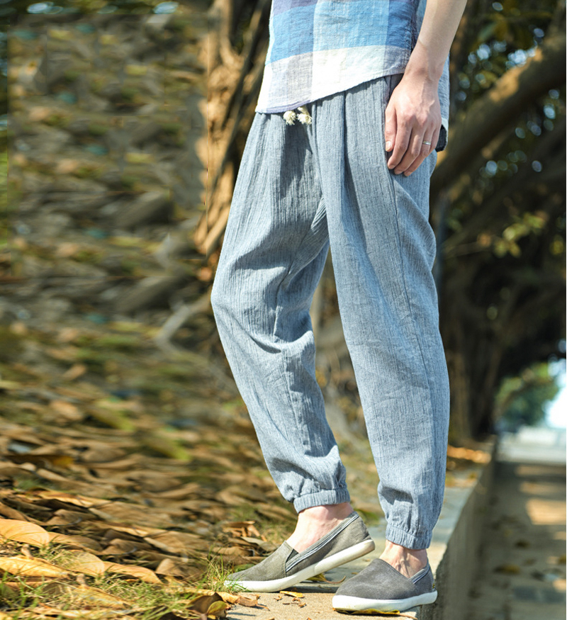 Mens Summer Casual Loose Solid Color Linen Cotton Pants