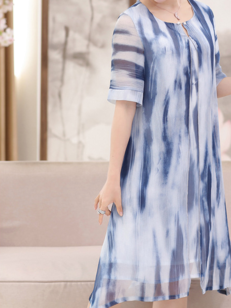 Women Fake Two Pieces Painted Chiffon Dress